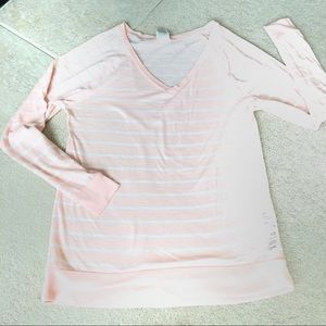 VS Pink Light Pink/Cream Stripe LongSleeve Tee-XS.